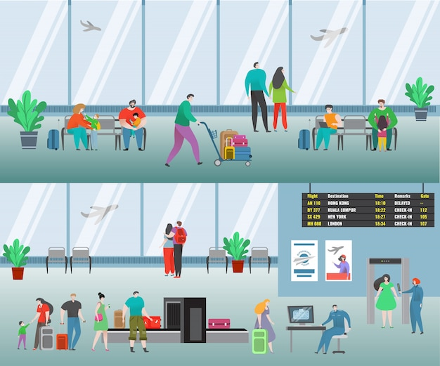 Leute in der flughafenillustration. karikatur flacher mann frau reisen charaktere mit gepäck warten flug, familie passagier fluggesellschaft gesetzt