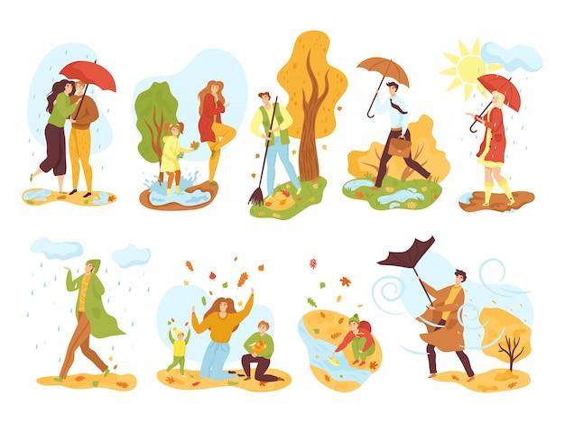 Leute in der herbstsaison setzen illustrationen. männer und frauen im herbst im freien unter regen mit regenschirm, im herbstpark, kinder, die mit herbstlaub spielen. windiges wetter.