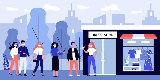 Leute in der maske stehen in der warteschlange zum einkaufen