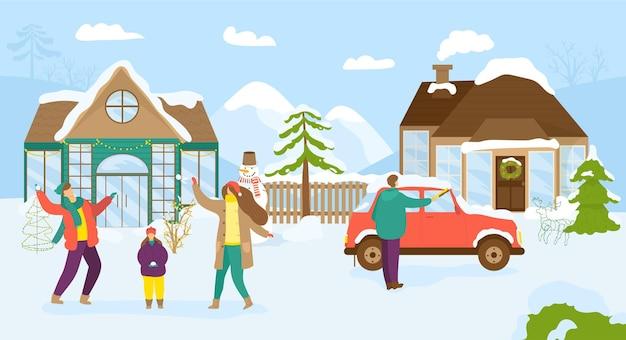 Leute in der verschneiten stadt in weihnachten