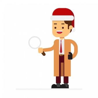 Leute in roten weihnachtsmann-hüten feiern weihnachtsfeiertag