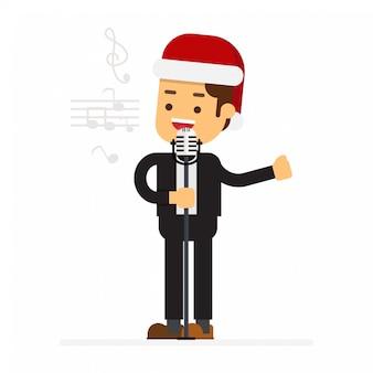 Leute in roten weihnachtsmann-hüten feiern weihnachtsfeiertage