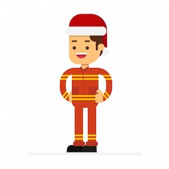Leute in roten weihnachtsmann-hüten feiern weihnachtsfeiertage.