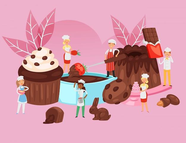 Leute kochen schokolade, nahrungsmittelrezeptzusammensetzung, professionelles bäckereibanner, dessertbacken, karikaturillustration.
