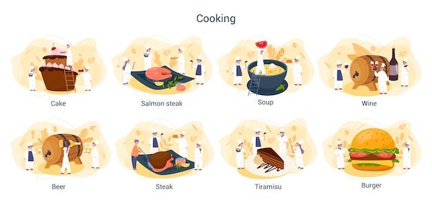 Leute kochen und bereiten essensset vor. restaurantkoch kocht sammlung von mann und frau in der schürze, die leckeres gericht macht. professioneller arbeiter in der küche.