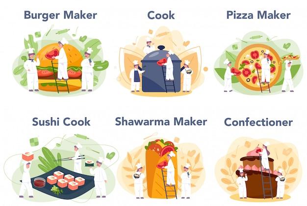 Leute kochen und bereiten essensset vor. restaurantkoch kocht