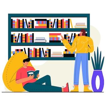 Leute lesen eine buch-flache illustration