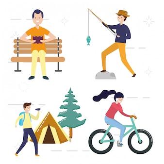 Leute meine hobbyleute, welche die tätigkeiten fischen, kampieren, fahrrad reiten, lesen, illustration tun