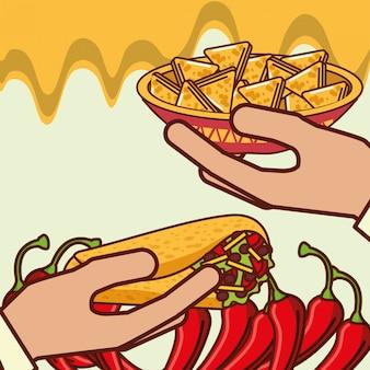 Leute mexikanisches essen