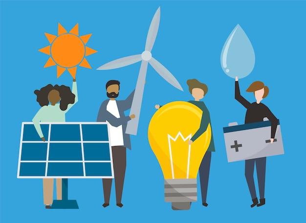 Leute mit abbildung der erneuerbaren energiequellen