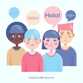Leute mit dem flachen design, das verschiedene sprachen spricht
