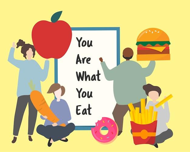 Leute mit fetter illustration des ungesunden fertigkosts