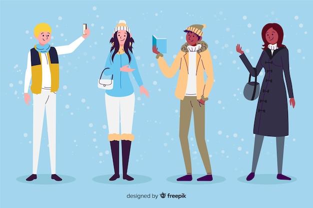 Leute mit flachem design der winterkleidung