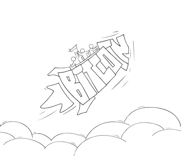 Leute mit fliegenwort bitcoin. handgezeichnete vektorillustration über kryptowährung.