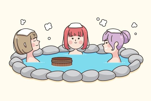 Leute mit handtüchern auf köpfen sitzen in onsen