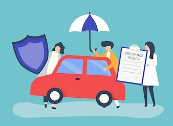 Leute mit Ikonen bezogen auf Autoversicherung