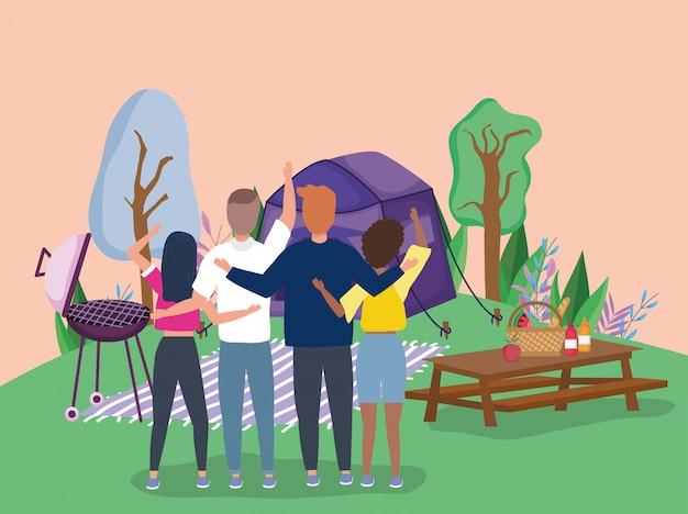 Leute mit kampierendem picknick der grillbbq-tablettenlebensmittel-zeltdecke