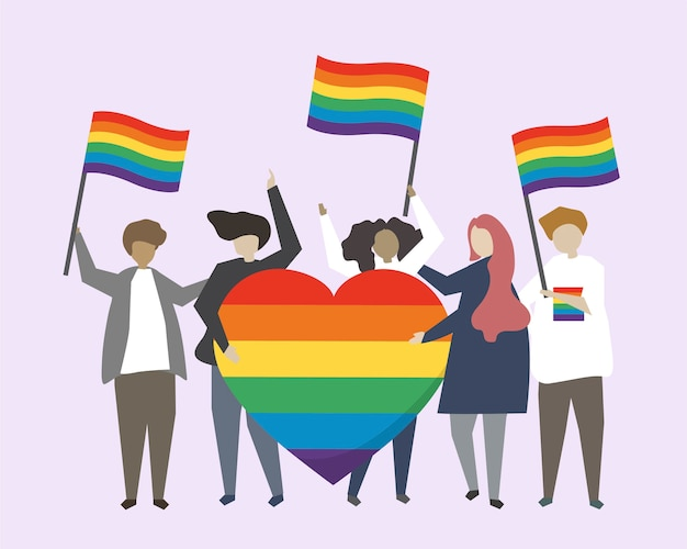 Leute mit lgbtq-regenbogenflaggenillustration
