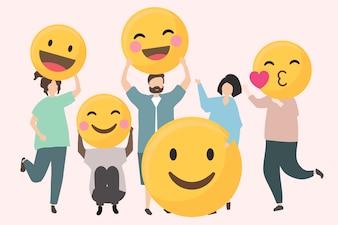 Leute mit lustiger und glücklicher Emojisillustration
