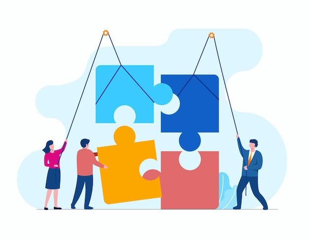 Leute mit puzzlespiel, das flache vektorillustrationsfahne des teamworkgeschäfts und landingpage darstellt