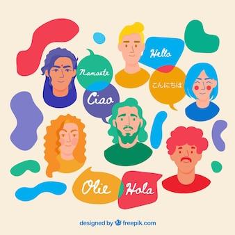 Leute mit rede sprudelt in den verschiedenen sprachen