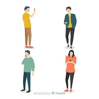 Leute mit smartphone