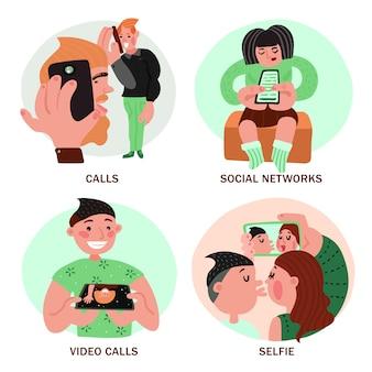 Leute mit smartphones-konzept des entwurfes