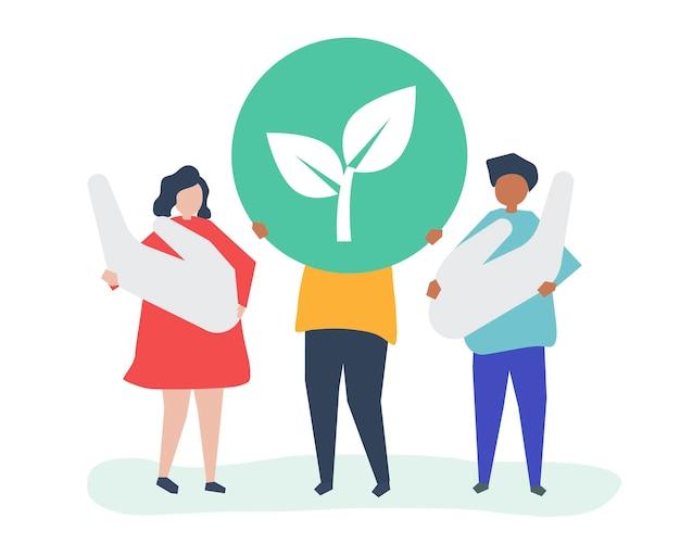 Leute mit umweltverantwortungskonzept