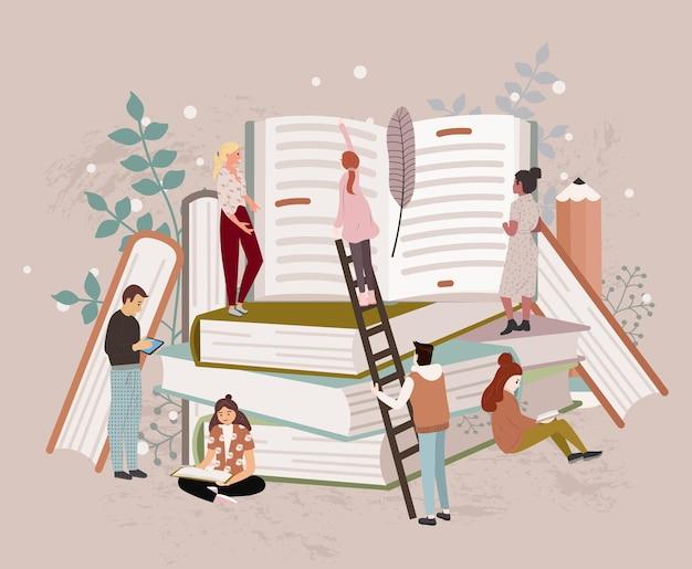 Leute oder studenten, die lesen, studieren und sich auf die prüfung vorbereiten, sitzen auf einem stapel riesiger bücher oder daneben