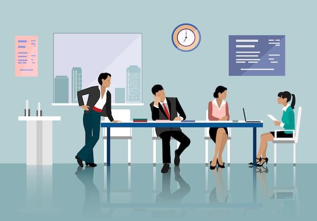 Leute reden und arbeiten im büro. mitarbeiter um tisch arbeiten mit laptop-tablet.