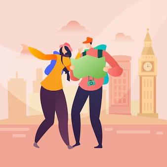 Leute-reise-charakter in london in der flachen art