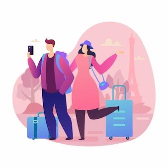 Leute-reise-charaktervektorillustration in den ferien auf hintergrundkonzept in paris mit flacher karikatur