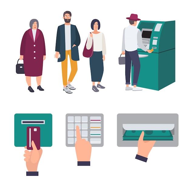 Leute schlange in der nähe von geldautomaten. operationen kreditkarte einlegen, pin-code eingeben, geld erhalten. satz bunte bilder im flachen stil.