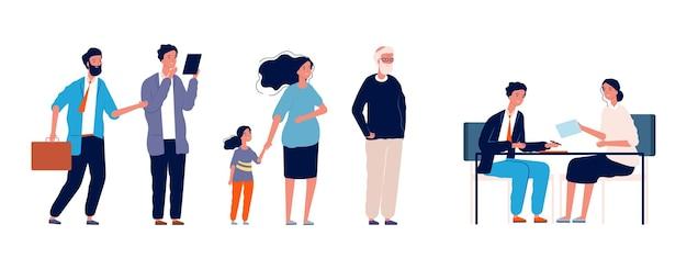 Leute schlange. lange wartezeit empfang. erwachsene, kinder und ältere menschen warten auf sozialarbeiter. appell an die verwaltung, registrierung beim sekretär.