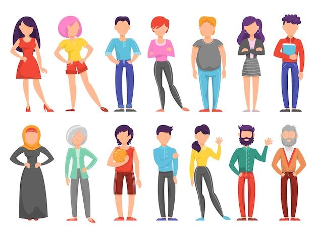 Leute setzen. sammlung verschiedener personen mit unterschiedlichem aussehen