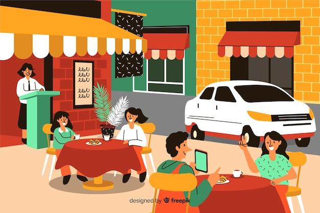 Leute sitzen in einem cafe