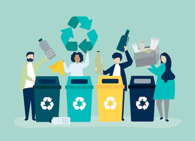 Leute sortieren müll für das recycling