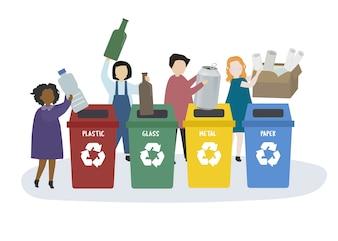 Leute sortieren Müll in Papierkörbe