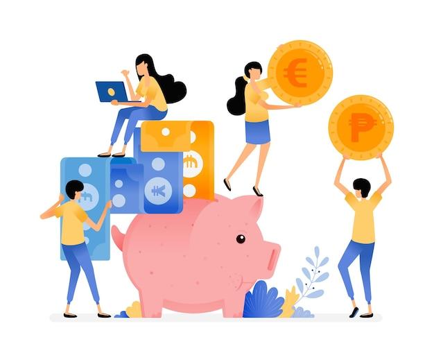 Leute sparen in sparschweinen. münzen und papiergeld sammeln