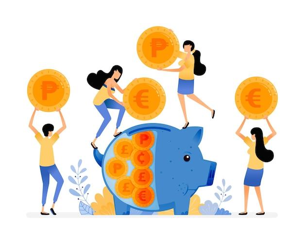Leute sparen münzen in sparschweinen