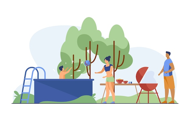 Leute spielen, schwimmen, kochen im hinterhof. flache vektorillustration von grill, park, natur. sommeraktivität und wochenendkonzept