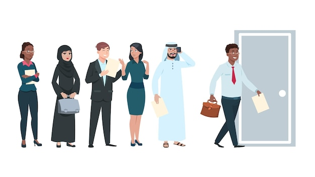 Leute stehen schlange. arbeitssuchende in der warteschlange mit lebenslauf in händen. büroangestellte warten zeit, um einzutreten, mann geht in die tür. internationale profis mann frau cartoon-vektor-zeichen-illustration