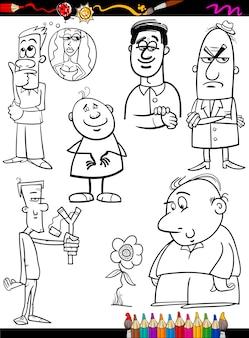 Leute stellten karikaturfarbtonseite ein