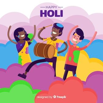 Leute tanzen holi festivalhintergrund