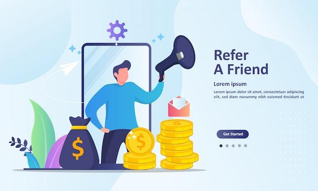 Leute teilen informationen über empfehlungen und verdienen geld als zielseitenvorlage