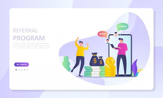 Leute teilen informationen über empfehlungen und verdienen geld