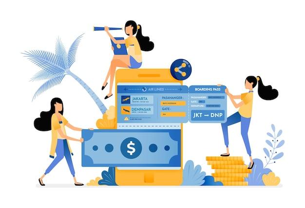 Leute überweisen geld an mobile banken und kaufen flugtickets für den urlaub.