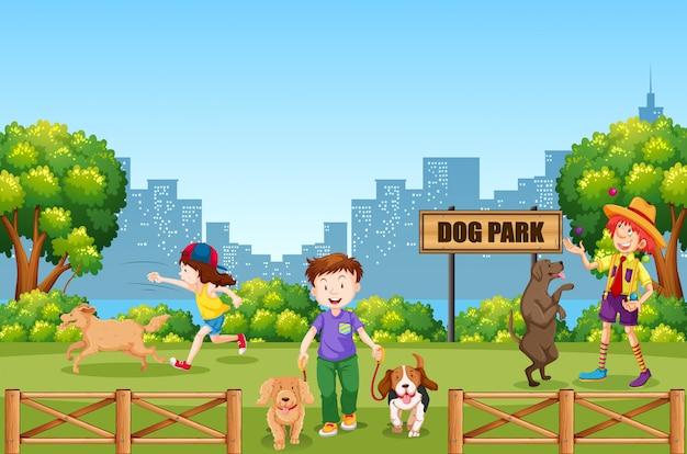 Leute und hund am hundepark