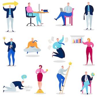 Leute vector die mannfrauenperson, die kreativen ideenlösungs-illustrationssatz des geschäftsmannes denkt