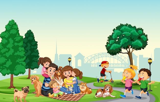 Leute verbringen ferien im park